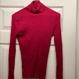 Womens pink, long sleeve turtleneck shirt
